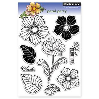 New Penny Black PETAL PARTY Clear Stamps Flowers Leaves Plants