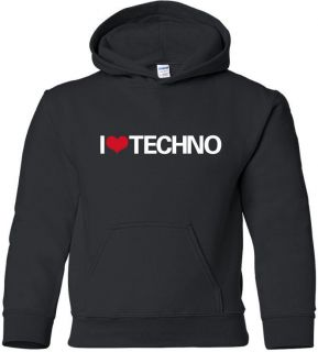 LOVE TECHNO Hooded Sweatshirt FUNKY 80s Hoodie DANCE HOUSE MUSIC HOODY
