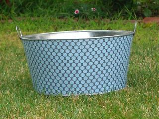 Full Moon Polka Dot Round Galvanize Galvanized Metal Party Wash Tub