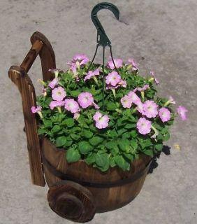 Rustic Wood Wheeled Barrel Yard Decor Nursery Garden Flower Pot Decor