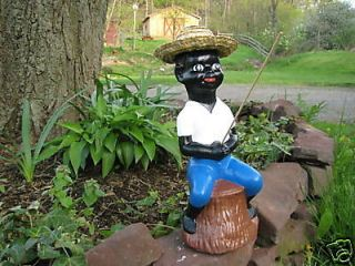 Black Fishing Boy Concrete Statue Pond (Lawn Jockey)