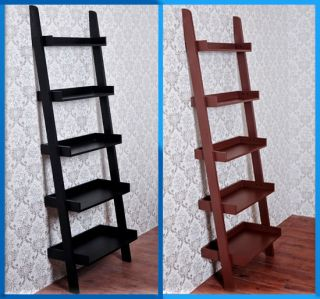 Tier Wood Bookcase Leaning Ladder Book Shelf Wooden Storage Black