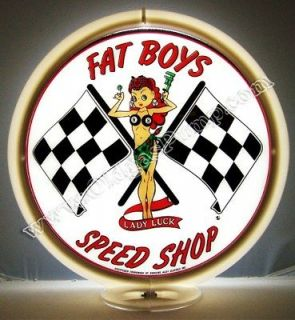 FAT BOYS SPEED SHOP LADY LUCK GAS PUMP GLOBE FREE S&H