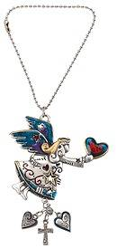 Ganz Car Rearview Mirror Charm 2 Sided Colored Angel with a heart