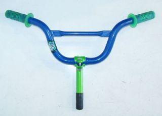 MONGOOSE BLUE/GREEN KIDS/YOUTH/JUNIOR BICYCLE HANDLEBARS W/STEM BIKE