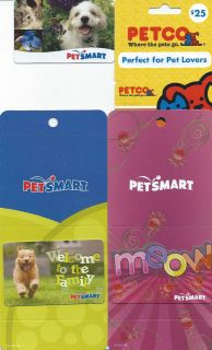 SET OF 5 DIFFERENT PETSMART AND PETCO GIFT CARDS (SOME RARE OR HTF)