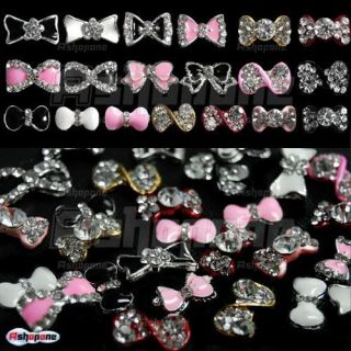 3D Alloy Bow Tie Bowtie Rhinestones Nail Art Glitters DIY Decorations