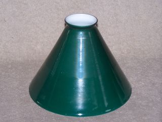 ANTIQUE EMERALITE INDUSTRIAL CASED GLASS CONE LAMP SHADE