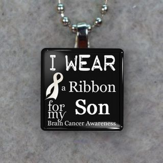 Brain Cancer Awareness Ribbon For Son Glass Tile Necklace Pendant K60