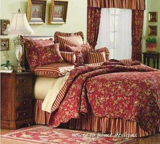 French Country Cottage King Patchwork Quilt 2 Std Shams Set Shabby
