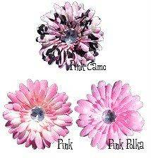 Pink Dot Camo Gerbera Daisy Baby, Infant, Toddler, Girl Clipie Hair