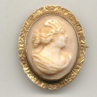 Antique 14k Yellow Gold Carved Shell Cameo Pin Brooch All Hand Made