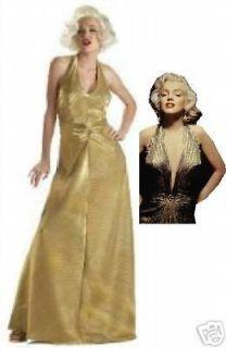 MARILYN MONROE GOLD HALTER DRESS COSTUME SMALL   LARGE