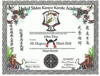 martial arts certificate in other