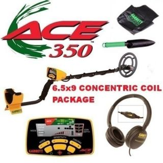 Garrett Ace 350 Metal Detector with 6.5x9 Concentric Coil