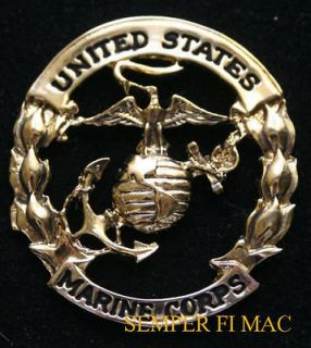 XL US MARINES CORPS EAGLE GLOBE ANCHOR PIN GOLD EGA USMC SEMPER FI