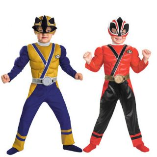 Child TV Show Nick Super Power Rangers Samurai Muscle Gold Red Costume