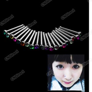 20x Rhinestone Nose Ring Bone Stud Stainless Steel Crystal Body