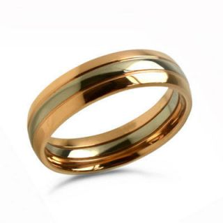 Mens Two Tone Rose Gold Plated Titanium Wedding Band  Sizes 7 to 11