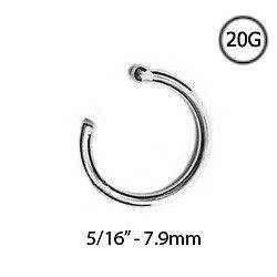 14KT Solid White Gold Open Hoop Nose Ring 5/16 7.9mm 20 Gauge 20G