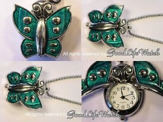 Beautiful Butterfly Green Wing Pendant Lady Watch Necklace Free Gift