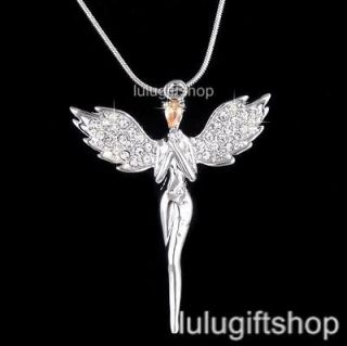 18K WHITE GOLD PLATED PRAY GUARDIAN ANGEL PENDANT NECKLACE USE
