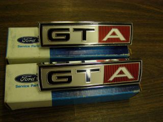 NOS 1967 Ford Mustang + Fairlane GTA Fender Emblems Ornaments