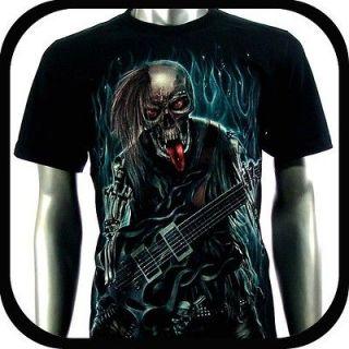 Shirt Biker Indie Tattoo RE99 Sz M Graffiti Skull Glow In The Dark