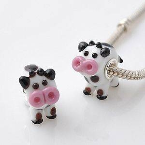 925 SILVER CORE MURANO GLASS MOLLY MOO COW ANIMAL CHARM BEAD FOR