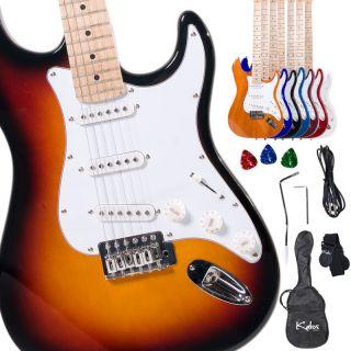 Full Size Electric Guitar ~Sunburst Black Blue Purple Red +Lesson Book