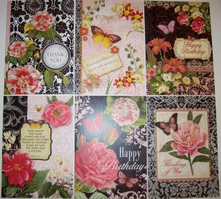 of 6 Assorted Christian Theme Black & Rose Greeting Cards by #96375