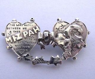 ANTIQUE SILVER LOVE HEART MIZPAH BROOCH PIN HALLMARKED 1902