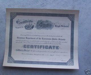 Vintage Lewistown PA Junior High School Diploma LOOK