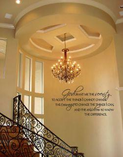 GOD GRANT SERENITY PRAYER QUOTE DECAL STICKER VINYL WALL ART BEDROOM