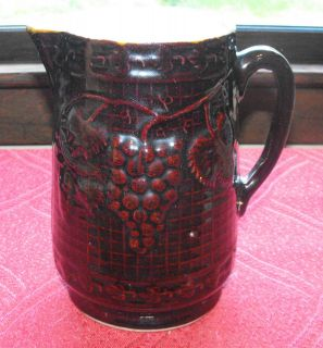 Antique LARGE Grape and Lattice Design Pottery Stoneware Brown Pitcher