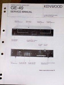 Kenwood GE 49 Graphic Equalizer Service/Parts Manual