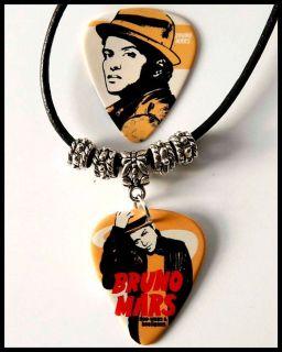BRUNO MARS Guitar Pick Black Leather Necklace + Pick