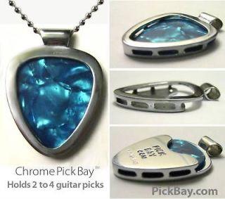 PICKBAY GUITAR PICK HOLDER Pendant NECKLACE SET CHROME 1,000 necklaces
