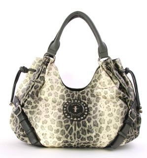 FORD MUSTANG Licensed BEIGE Shimmery Leopard Animal Print Hobo Purse