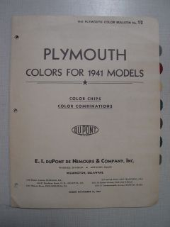 1941 PLYMOUTH Cars   Dupont PAINT COLOR CHIPS Chart
