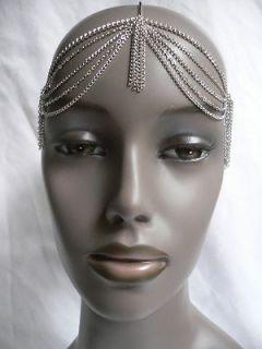 SILVER FUN HEAD METAL CHAIN BODY JEWELRY GRECIAN HAIR ACCESSORIES BAND