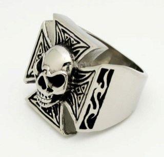 harley ring, iron cross biker ring, Skull mens rings chopper ring