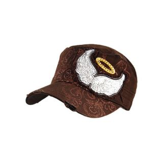 NEW Angel Wings Design Cotton Fashion Cadet Military Cap Hat Brown