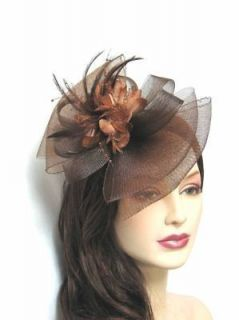Fascinator Hat Bow Shape Party Hair Clip Great For Wedding Brown
