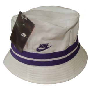 NIKE BUCKET HAT/CAP   SUN HAT WOMENS   WHITE/PURPLE STRIPES   S/M