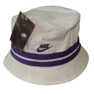 NIKE BUCKET HAT/CAP   SUN HAT WOMENS   WHITE/PURPLE STRIPES   S/M