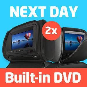 2X 7 In Car Headrest DVD Player/Monitor Twin Screen LCD