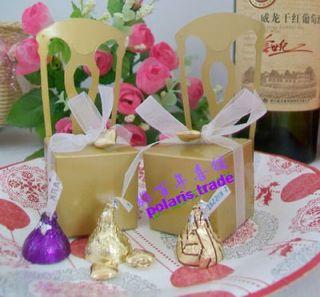 50pcs Gold Chair Card Holder Elegant Wedding Favor Boxes Sweet Boxes