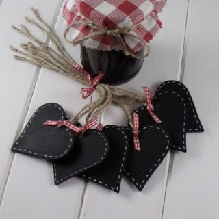 Country Heart Chalkboard Basket Tags / Jam Labels with Gingham Bow £1