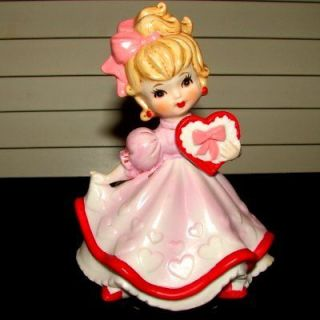 Lefton Valentine Girl with Pink Dress and Heart Music Box Figurint